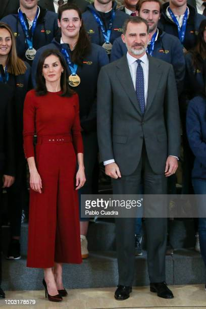 Queen Letizia of Spain and King Felipe VI of Spain recieve National Wateropolo temas at Zarzuela Palace on January 31, 2020 in Madrid, Spain.