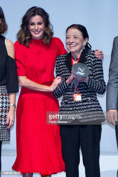 Queen Letizia of Spain and Leonor Perez Pita attend the National Fashion awards at Museo del Traje on December 19 2018 in Madrid Spain