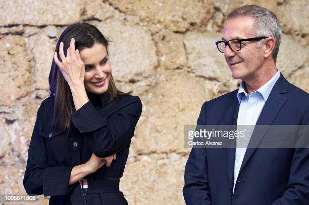 Queen Letizia of Spain and Minister of Culture Jose Guirao attend the International Music School Summer Courses by Princess of Asturias Foundation at...