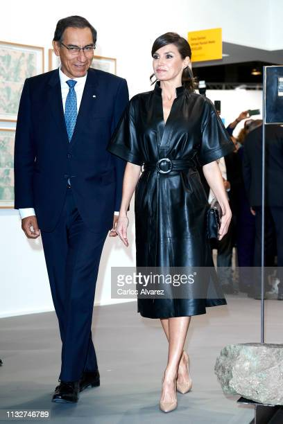 Queen Letizia of Spain and Peruvian president Martin Alberto Vizcarra attend the opening of ARCO 2019 at Ifema on February 28 2019 in Madrid Spain