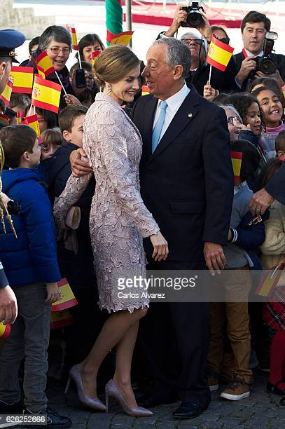 Queen Letizia of Spain and President of Portugal Marcelo Rebelo de Sousa visit the Chamber of Commerce of Porto during the official visit to Portugal...