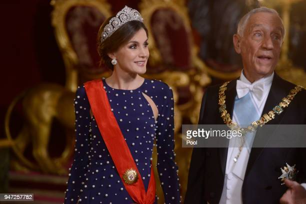 Queen Letizia of Spain and President of Portugal Marcelo Rebelo de Sousa attend a dinner gala for the President of Portugal Marcelo Rebelo de Sousa...