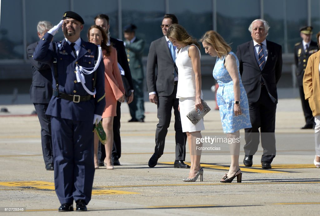 Queen Letizia of Spain and President of the Congress of Deputies Ana Pastor depart from Barajas Airport for an official visit to United Kingdom on July 11, 2017 in Madrid, Spain.