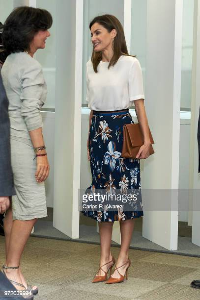 Queen Letizia of Spain and President of the Spanish bank Banco Santander Ana Patricia Botin attend a meeting with FAD Foundation members at Iberdrola...