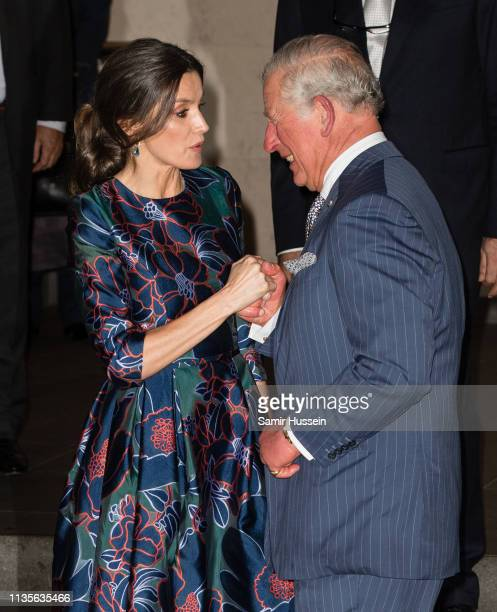 Queen Letizia of Spain and Prince Charles Prince of Wales attend the opening of Sorolla Spanish Master of Light at National Gallery on March 13 2019...