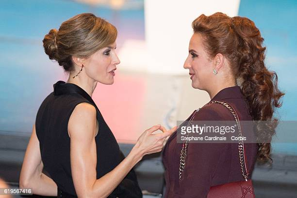 Queen Letizia of Spain and Princess Lalla Salma of Morocco attend the 2016 World Cancer Congress at Palais des Congres on October 31 2016 in Paris...