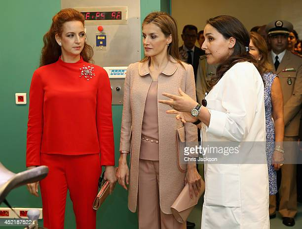 Queen Letizia of Spain and Princess Lalla Salma of Morocco visit an operating theatre during a visit to Lalla Salma Centre for Research Against...
