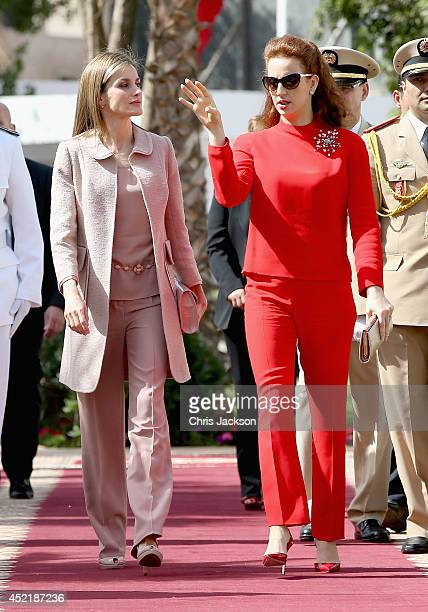 Queen Letizia of Spain and Princess Lalla Salma of Morocco visit the Lalla Salma Centre for Research Against Cancer on July 15, 2014 in Rabat,...