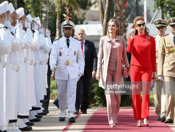 Queen Letizia of Spain and Princess Lalla Salma of Morocco visit the Lalla Salma Centre for Research Against Cancer on July 15 2014 in Rabat Morocco...