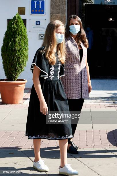 Queen Letizia of Spain and Princess Leonor of Spain are seen leaving from the Parador of Merida on July 23, 2020 in Merida, Spain. This trip is part...