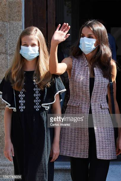 Queen Letizia of Spain and Princess Leonor of Spain are seen leaving from the Parador of Merida on July 23 2020 in Merida Spain This trip is part of...