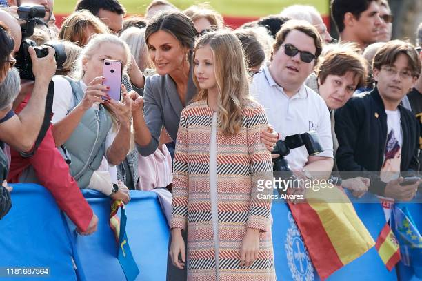 Queen Letizia of Spain and Princess Leonor of Spain arrive at Oviedo Cathedral ahead of the 'Princesa de Asturias Awards' 2019 on October 17, 2019 in...