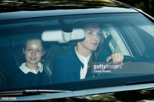 Queen Letizia of Spain and Princess Leonor of Spain arrive at the 'Santa Maria de los Rosales' school on the first day of school on September 11 2017...