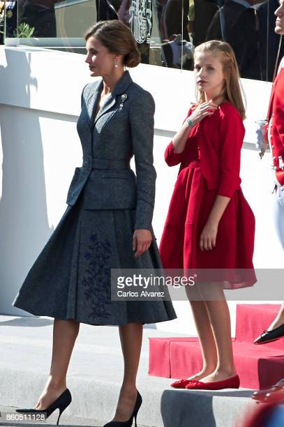 Queen Letizia of Spain and Princess Leonor of Spain attend the National Day Military Parade 2017 on October 12 2017 in Madrid Spain