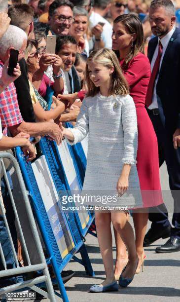 Queen Letizia of Spain and Princess Leonor of Spain attend the Centenary of the Catholic Coronation of the Virgin of Covadonga at Santa Cueva de...