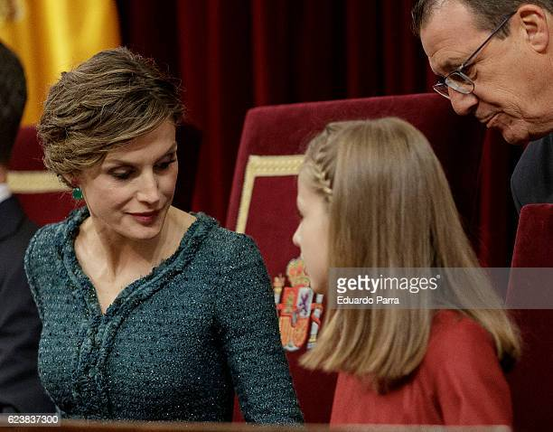 Queen Letizia of Spain and Princess Leonor of Spain attend the solemn opening of the twelfth legislature at the Spanish Parliament on November 17...