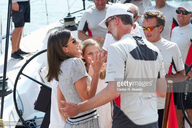 Queen Letizia of Spain and Princess Leonor of Spain pick up King Felipe of Spain at the end of the last day of the 37th Copa del Rey Mapfre sailing...