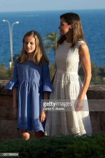 Queen Letizia of Spain and Princess Leonor of Spain pose for the photographers during the summer session at the Almudaina Palace on July 29 2018 in...
