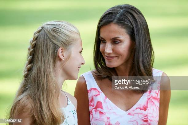 Queen Letizia of Spain and Princess Leonor of Spain pose for the photographers during the summer photocall at the Marivent Palace on August 04, 2019...