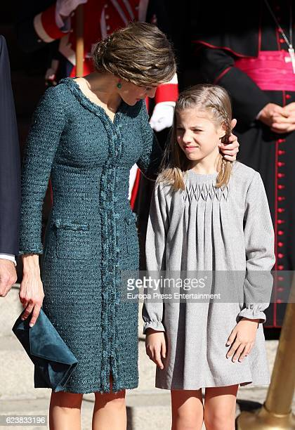 Queen Letizia of Spain and Princess Sofia attend the opening ceremony of 12th legislative session at the Spanish Parliament on November 17 2016 in...