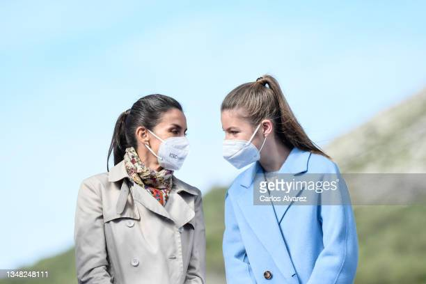 Queen Letizia of Spain and Princess Sofia during their visit to Santa Maria del Puerto de Somiedo, which has been honoured as the 2021 Best Asturian...