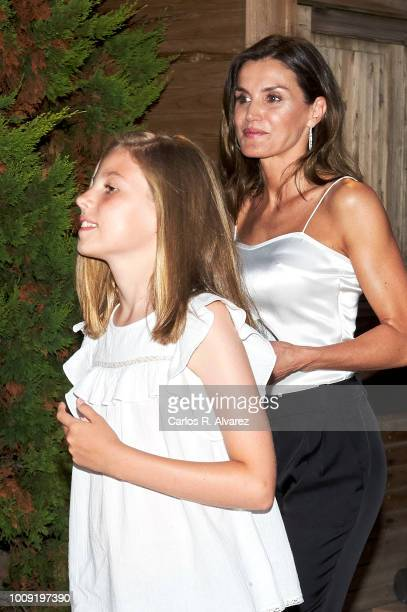 Queen Letizia of Spain and Princess Sofia of Spain attend Ara Malikian concert at Port Adriano on August 1 2018 in Palma de Mallorca Spain