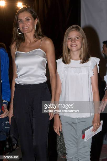 Queen Letizia of Spain and Princess Sofia of Spain attend Ara Malikian's concert at Port Adriano on August 1 2018 in Palma de Mallorca Spain
