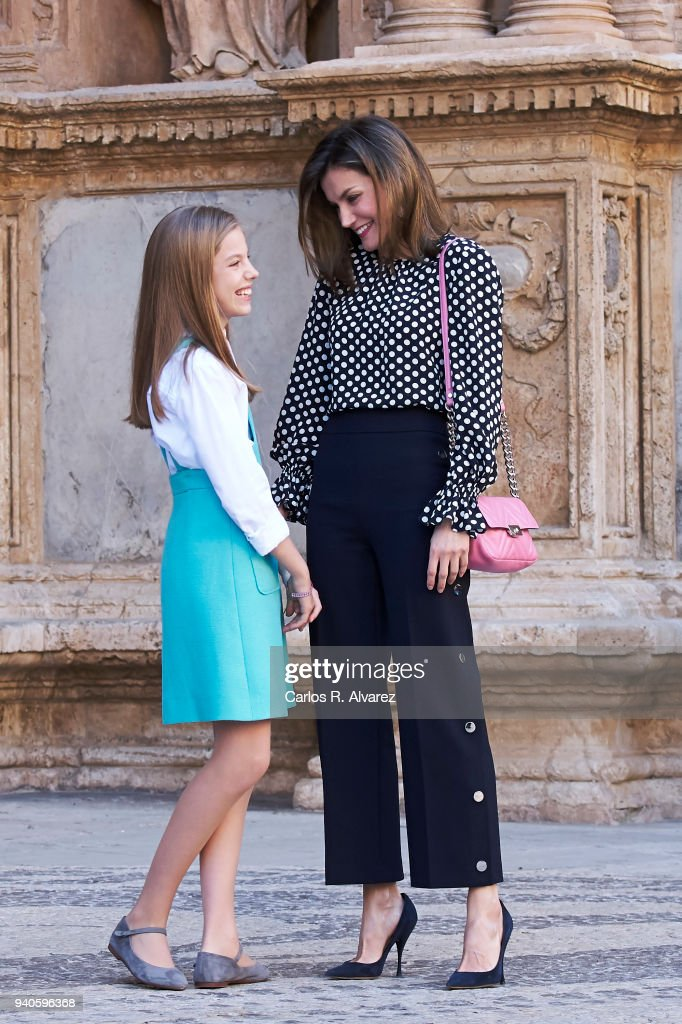 Queen Letizia of Spain and Princess Sofia of Spain attend the Easter mass on April 1, 2018 in Palma de Mallorca, Spain.