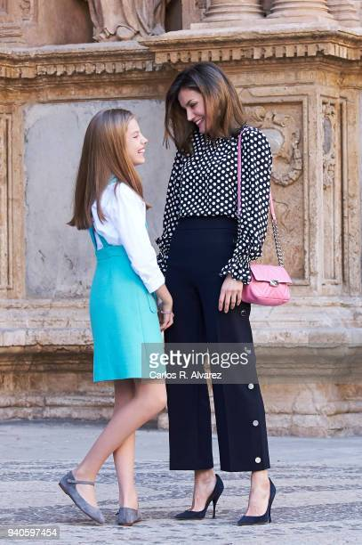 Queen Letizia of Spain and Princess Sofia of Spain attend the Easter mass on April 1 2018 in Palma de Mallorca Spain