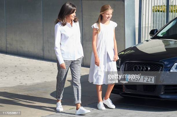 Queen Letizia of Spain and Princess Sofia of Spain is seen arriving to visit King Juan Carlos at Quiron Hospital on August 27 2019 in Pozuelo de...