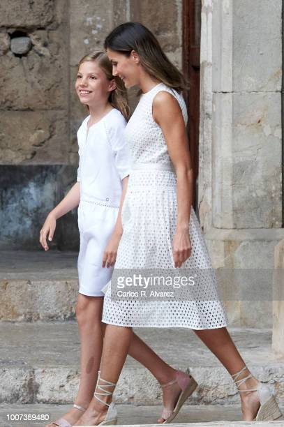 Queen Letizia of Spain and Princess Sofia of Spain pose for the photographers during the summer session at the Almudaina Palace on July 29 2018 in...