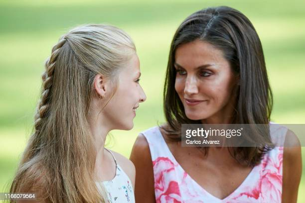 Queen Letizia of Spain and Princess Sofia of Spain pose for the photographers during the summer photocall at the Marivent Palace on August 04, 2019...