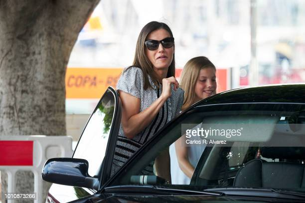 Queen Letizia of Spain and Princess Sofia of Spain visit the Royal Nautic Club the last day of the 37th Copa del Rey Mapfre sailing cup on August 4...