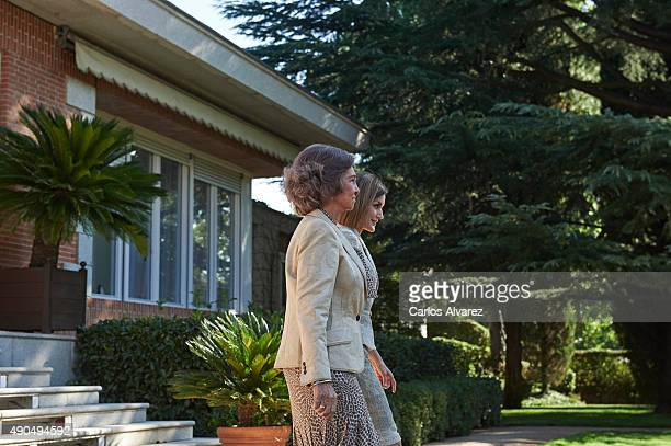 Queen Letizia of Spain and Queen Sofia attend an audience with the communication media of FAD at the Zarzuela Palace on September 29 2015 in Madrid...