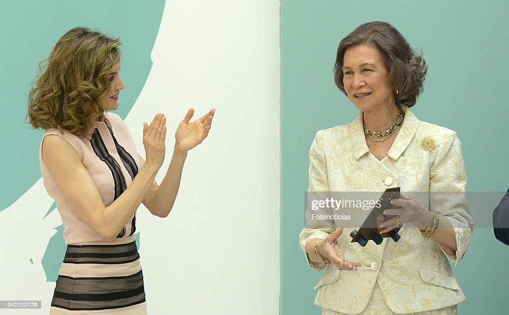 Queen Letizia of Spain and Queen Sofia attend the FAD 30th Anniversary event at the Real Casa de Correos on June 22, 2016 in Madrid, Spain.