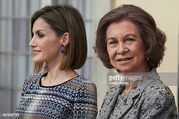 Queen Letizia of Spain and Queen Sofia attend the National Sports Awards 2014 at the El Pardo Palace on November 17 2015 in Madrid Spain