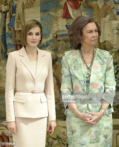 Queen Letizia of Spain and Queen Sofia attend the Reina Sofia 2014 Awards Ceremony at El Pardo Palace on April 29 2015 in Madrid Spain