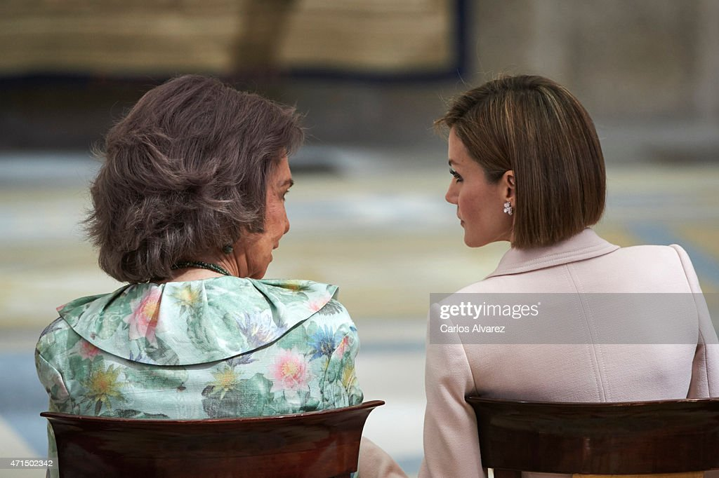 Queen Letizia of Spain (R) and Queen Sofia (L) attend the 'Royal Trust Disability Reina Sofia 2014 Awards' at the El Pardo Palace on April 29, 2015 in Madrid, Spain.