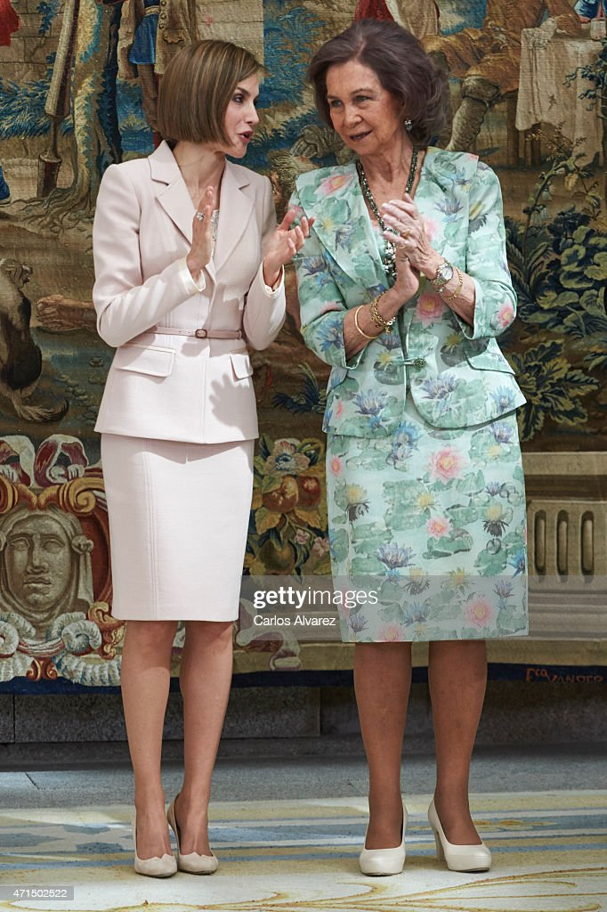 Queen Letizia of Spain (L) and Queen Sofia (R) attend the 'Royal Trust Disability Reina Sofia 2014 Awards' at the El Pardo Palace on April 29, 2015 in Madrid, Spain.