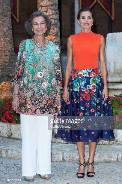 Queen Letizia of Spain and Queen Sofia host a dinner for authorities at the Almudaina Palace on August 3 2018 in Palma de Mallorca Spain