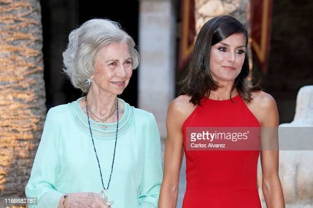 Queen Letizia of Spain and Queen Sofia host a dinner for authorities at the Almudaina Palace on August 07, 2019 in Palma de Mallorca, Spain.