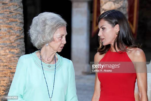 Queen Letizia of Spain and Queen Sofia host a dinner for authorities at the Almudaina Palace on August 07 2019 in Palma de Mallorca Spain