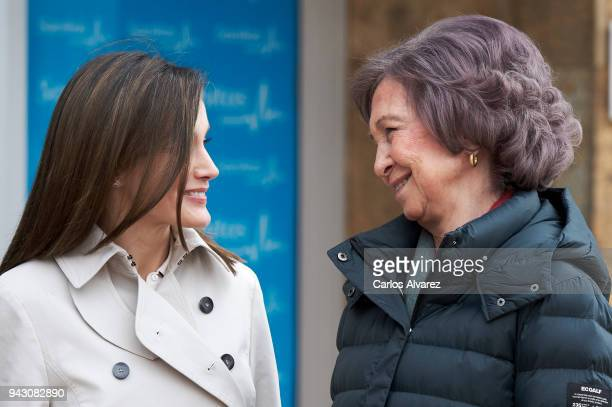 Queen Letizia of Spain and Queen Sofia visit King Juan Carlos at La Moraleja Hospital on April 7 2018 in Madrid Spain King Juan Carlos has been...