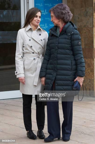 Queen Letizia of Spain and Queen Sofia visit King Juan Carlos at La Moraleja Hospital on April 7 2018 in Madrid Spain King Juan Carlos has been...