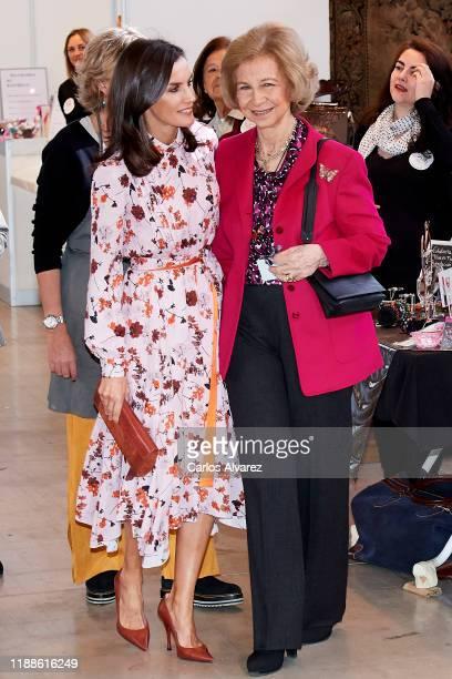 Queen Letizia of Spain and Queen Sofia visit 'Rastrillo Nuevo Futuro' on November 19, 2019 in Madrid, Spain.