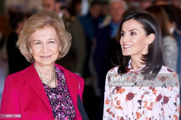 Queen Letizia of Spain and Queen Sofia visit 'Rastrillo Nuevo Futuro' on November 19 2019 in Madrid Spain