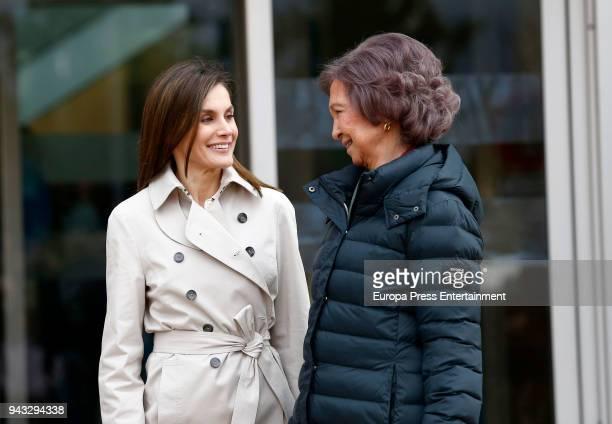 Queen Letizia of Spain and Queen Sofia vsisit King Juan Carlos at La Moraleja Hospital on April 7 2018 in Madrid Spain