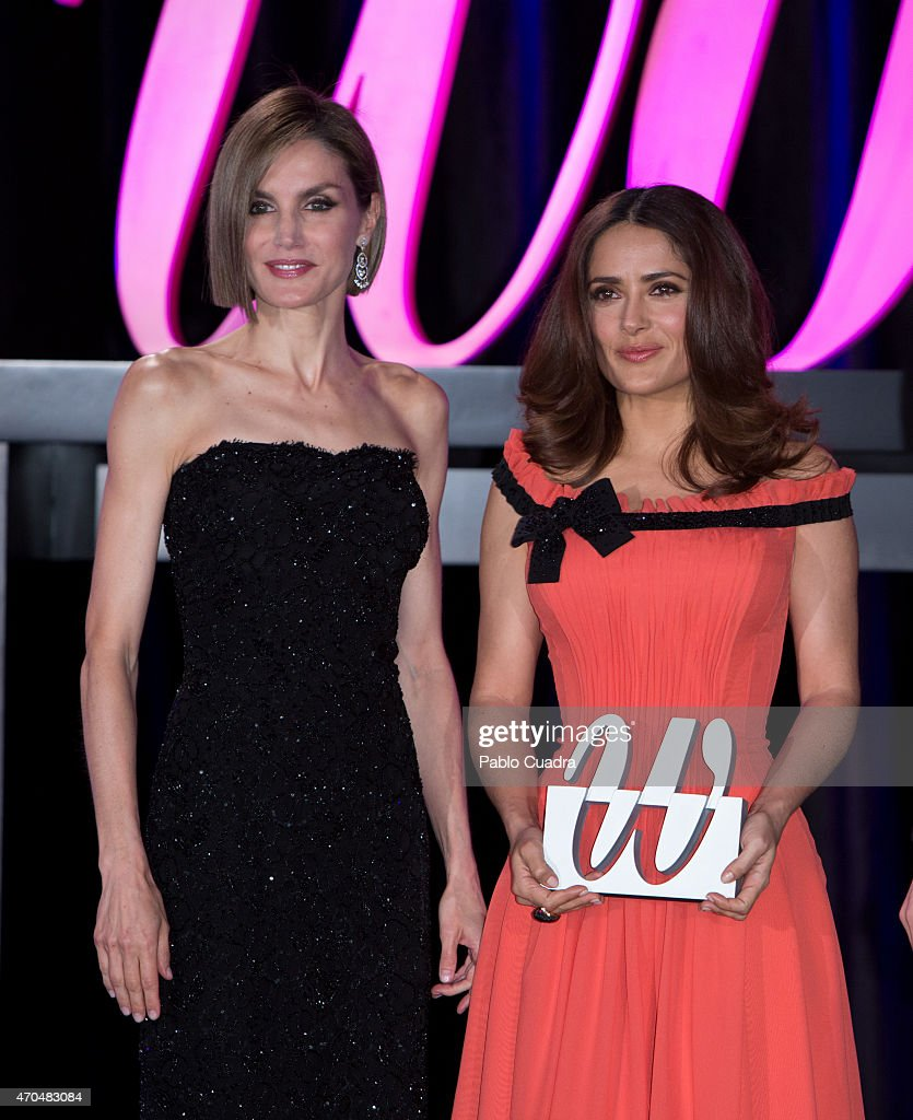Queen Letizia of Spain and Salma Hayek attend 'Woman Awards' at 'Casino de Madrid' on April 20, 2015 in Madrid, Spain.