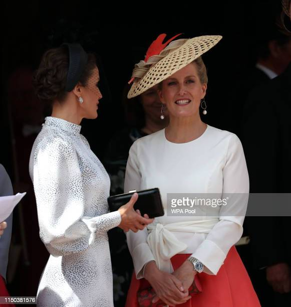 Queen Letizia of Spain and Sophie Countess of Wessex at the Order of the Garter Service at St George's Chapel in Windsor Castle on June 17 2019 in...