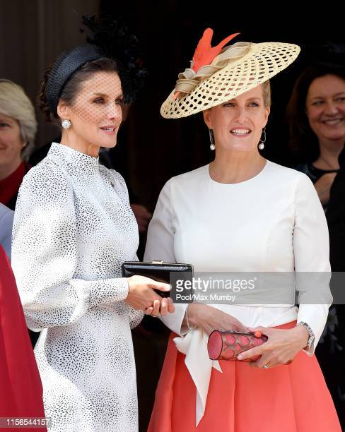 Queen Letizia of Spain and Sophie Countess of Wessex attend the Order of the Garter service at St George's Chapel on June 17 2019 in Windsor England...